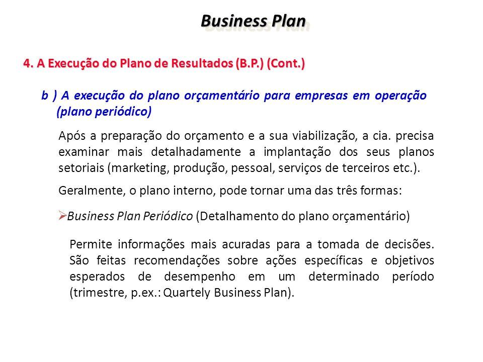 Business Plan Business Plan 4. A Execução do Plano de Resultados (B.P.) (Cont.) 4. A Execução do Plano de Resultados (B.P.) (Cont.) b ) A execução do