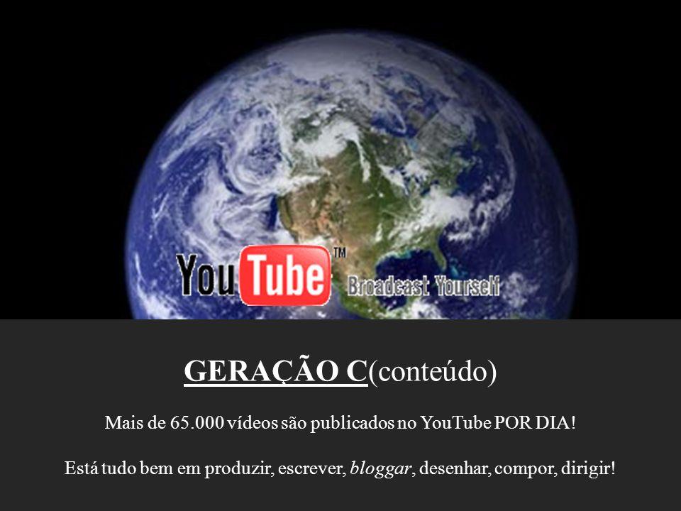 GERAÇÃO C(conteúdo) Mais de 65.000 vídeos são publicados no YouTube POR DIA! Está tudo bem em produzir, escrever, bloggar, desenhar, compor, dirigir!