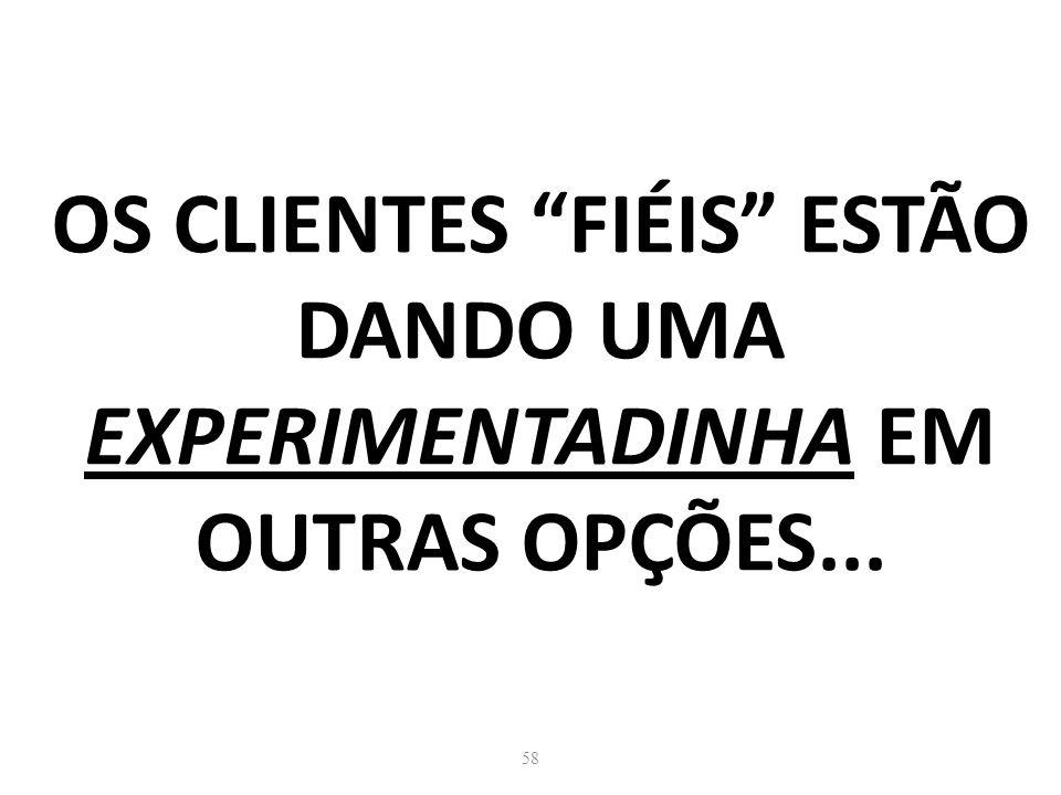 58 OS CLIENTES FIÉIS ESTÃO DANDO UMA EXPERIMENTADINHA EM OUTRAS OPÇÕES...