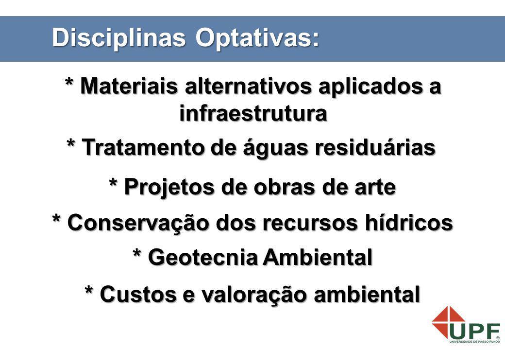 * Tratamento de águas residuárias * Conservação dos recursos hídricos * Materiais alternativos aplicados a infraestrutura * Projetos de obras de arte