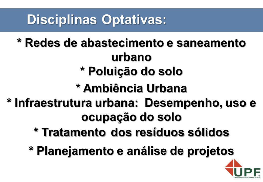 * Poluição do solo * Tratamento dos resíduos sólidos * Infraestrutura urbana: Desempenho, uso e ocupação do solo * Redes de abastecimento e saneamento