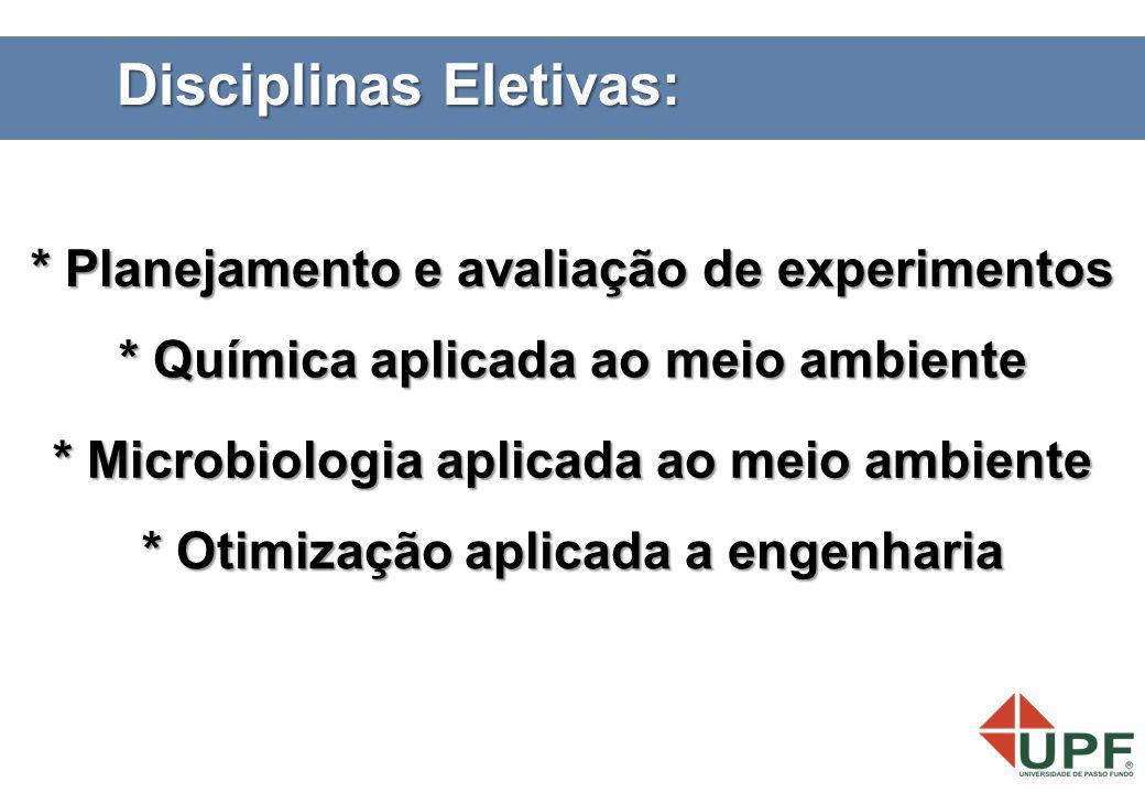 Disciplinas Eletivas: * Planejamento e avaliação de experimentos * Otimização aplicada a engenharia * Microbiologia aplicada ao meio ambiente * Químic