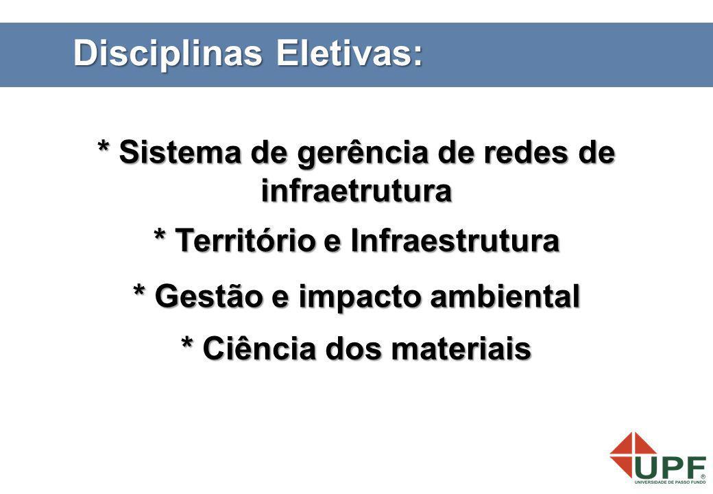 Disciplinas Eletivas: * Ciência dos materiais * Território e Infraestrutura * Gestão e impacto ambiental * Sistema de gerência de redes de infraetrutu