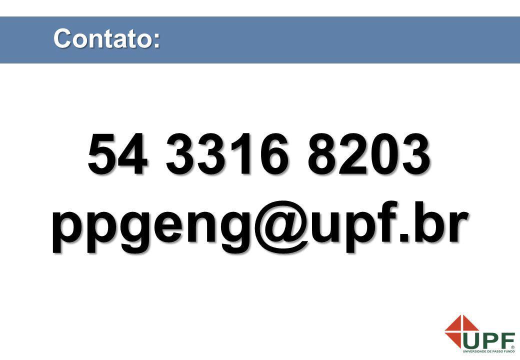 Contato: 54 3316 8203 ppgeng@upf.br