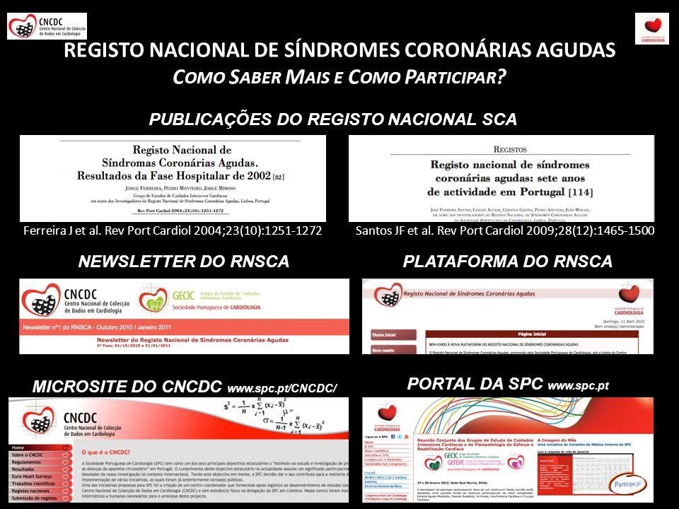 REGISTO NACIONAL DE SÍNDROMES CORONÁRIAS AGUDAS C OMO S ABER M AIS E C OMO P ARTICIPAR ? Santos JF et al. Rev Port Cardiol 2009;28(12):1465-1500Ferrei