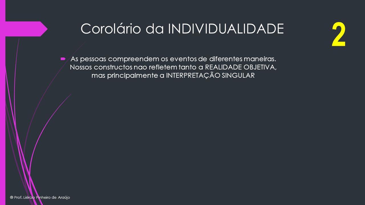 ® Prof. Liércio Pinheiro de Araújo Corolário da INDIVIDUALIDADE As pessoas compreendem os eventos de diferentes maneiras. Nossos constructos nao refle