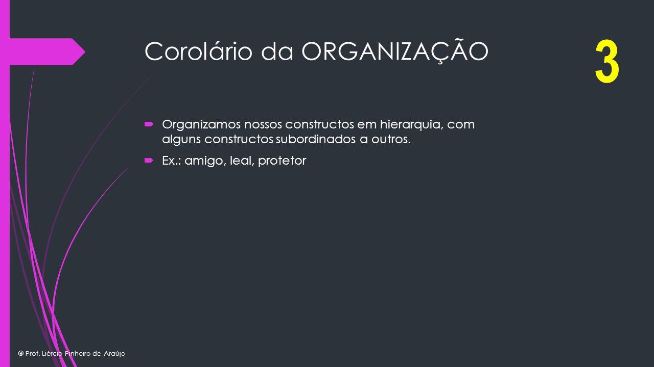 ® Prof. Liércio Pinheiro de Araújo Corolário da ORGANIZAÇÃO Organizamos nossos constructos em hierarquia, com alguns constructos subordinados a outros