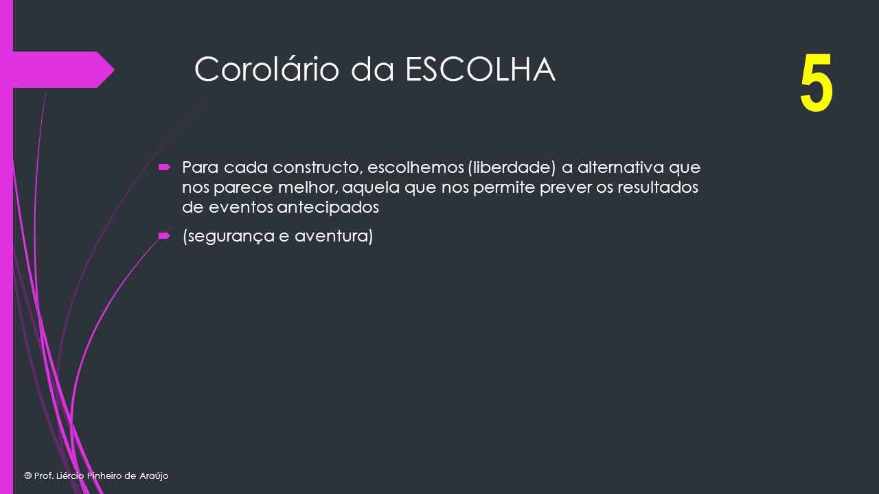 ® Prof. Liércio Pinheiro de Araújo Corolário da ESCOLHA Para cada constructo, escolhemos (liberdade) a alternativa que nos parece melhor, aquela que n
