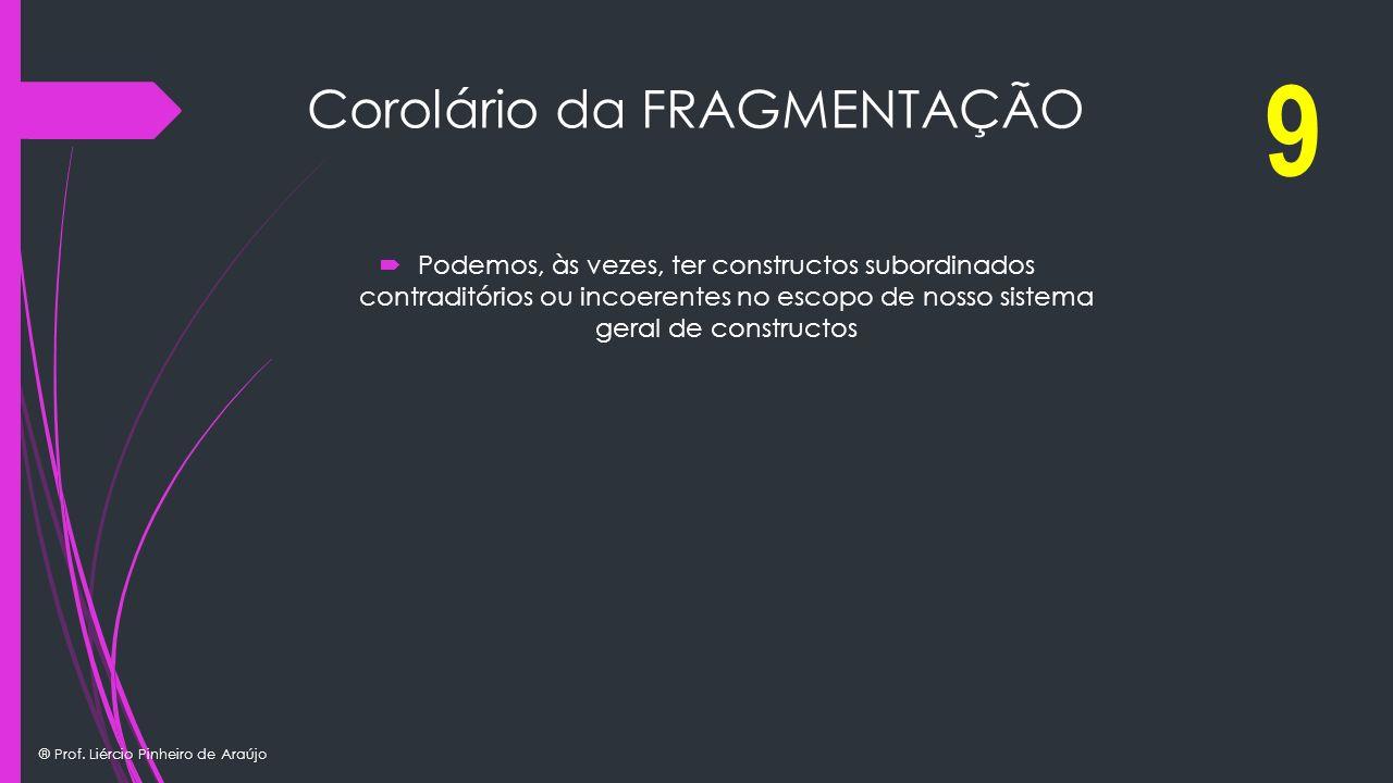 ® Prof. Liércio Pinheiro de Araújo Corolário da FRAGMENTAÇÃO Podemos, às vezes, ter constructos subordinados contraditórios ou incoerentes no escopo d