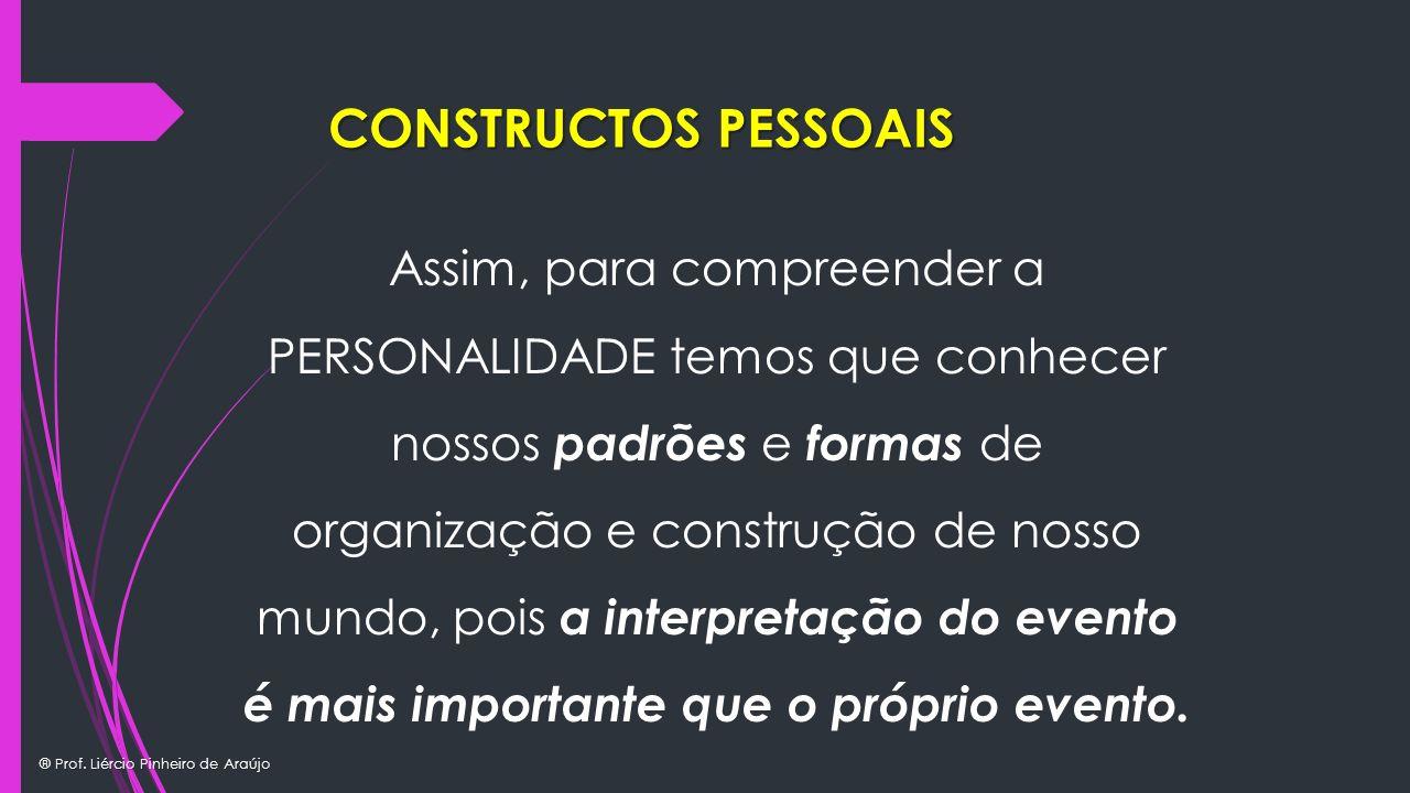 ® Prof. Liércio Pinheiro de Araújo Assim, para compreender a PERSONALIDADE temos que conhecer nossos padrões e formas de organização e construção de n
