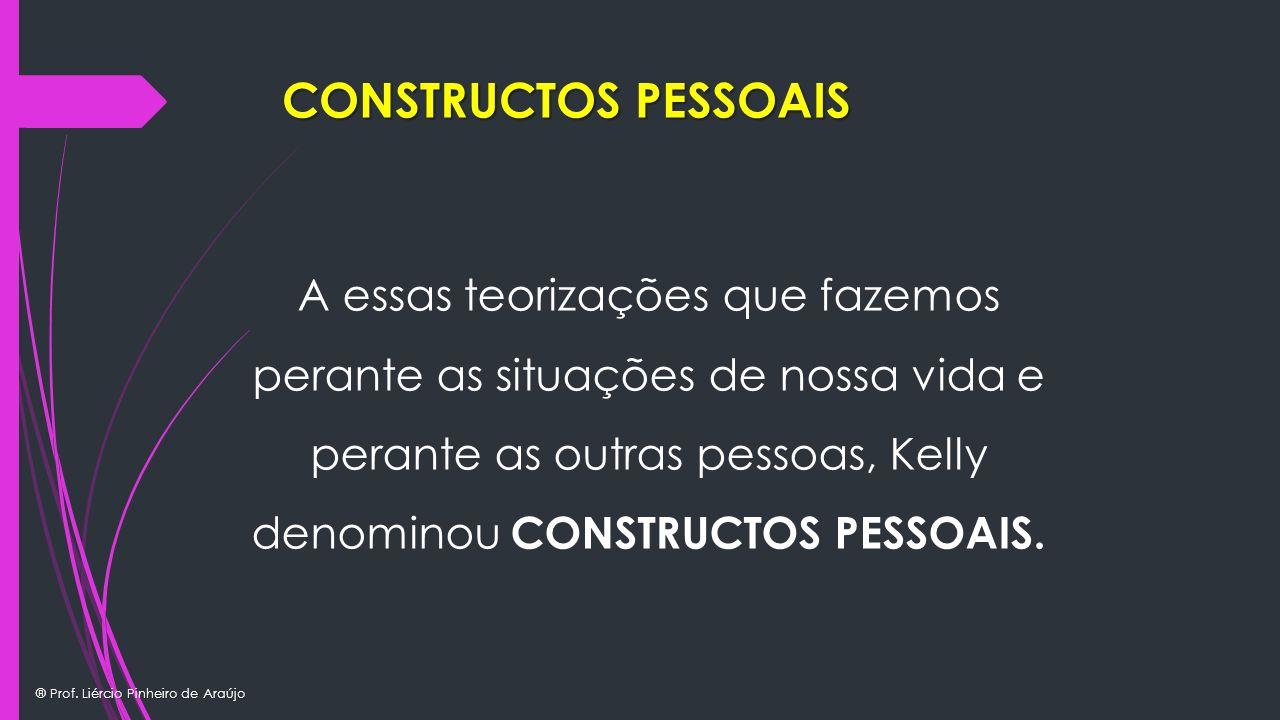 ® Prof. Liércio Pinheiro de Araújo A essas teorizações que fazemos perante as situações de nossa vida e perante as outras pessoas, Kelly denominou CON