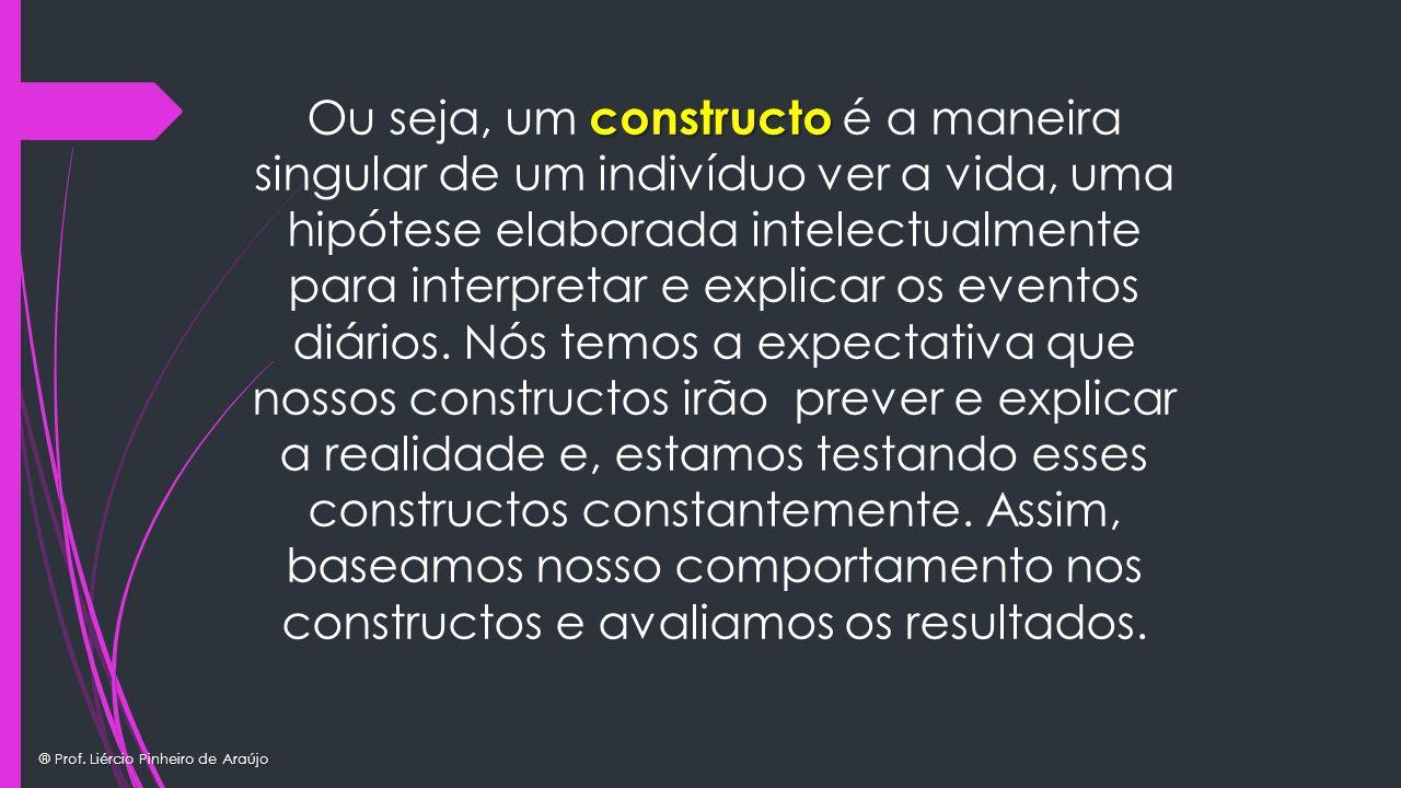 ® Prof. Liércio Pinheiro de Araújo constructo Ou seja, um constructo é a maneira singular de um indivíduo ver a vida, uma hipótese elaborada intelectu