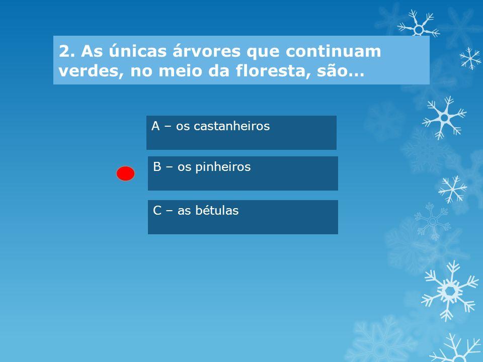 2. As únicas árvores que continuam verdes, no meio da floresta, são… A – os castanheiros B – os pinheiros C – as bétulas