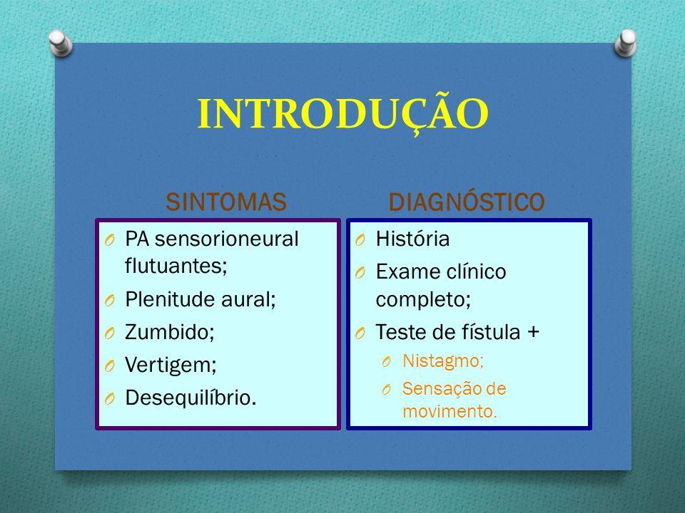 SINTOMAS DIAGNÓSTICO O PA sensorioneural flutuantes; O Plenitude aural; O Zumbido; O Vertigem; O Desequilíbrio. O História O Exame clínico completo; O