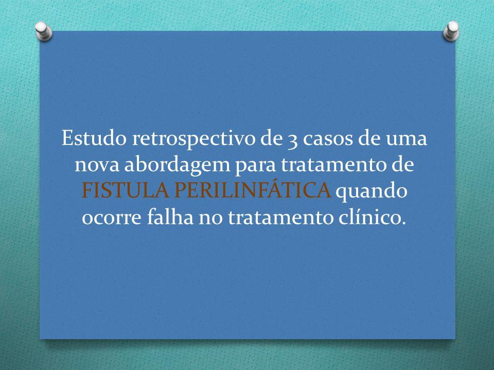 O 2006 – 2008; O Aprovado pela Instituição (?); O 3 pacientes (estudo de casos) com exame clínico e diagnóstico consistente de fístula perilinfática traumática.