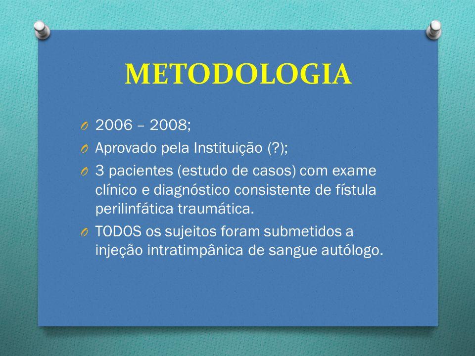 O 2006 – 2008; O Aprovado pela Instituição (?); O 3 pacientes (estudo de casos) com exame clínico e diagnóstico consistente de fístula perilinfática t