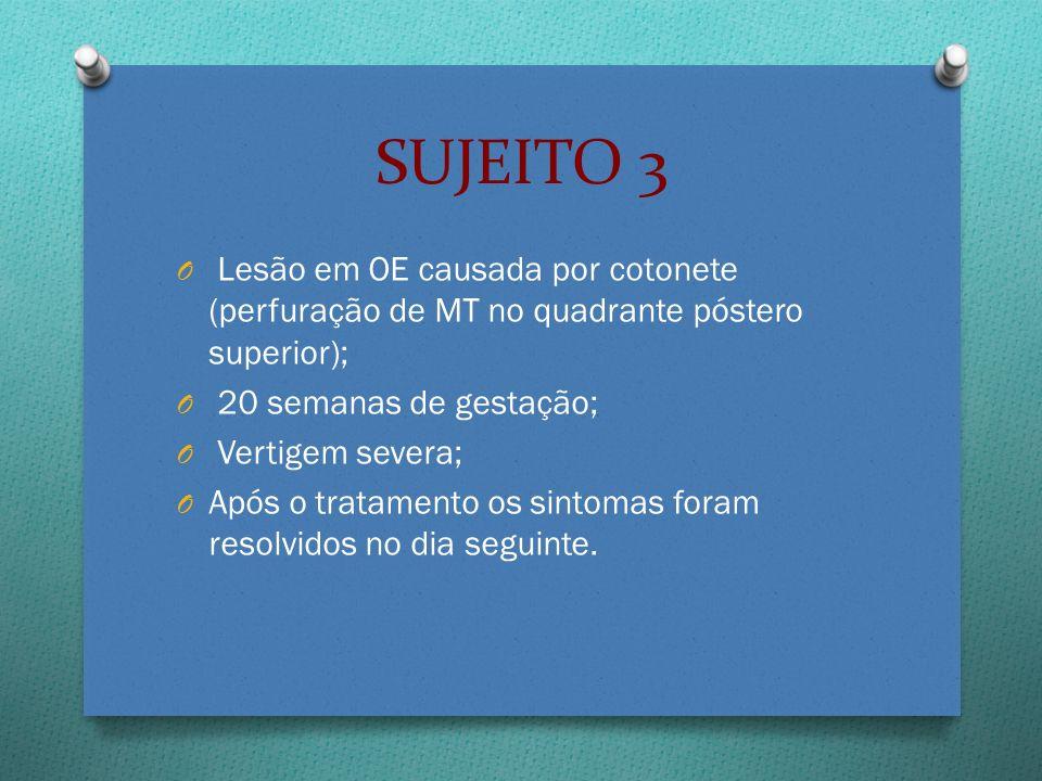 O Lesão em OE causada por cotonete (perfuração de MT no quadrante póstero superior); O 20 semanas de gestação; O Vertigem severa; O Após o tratamento