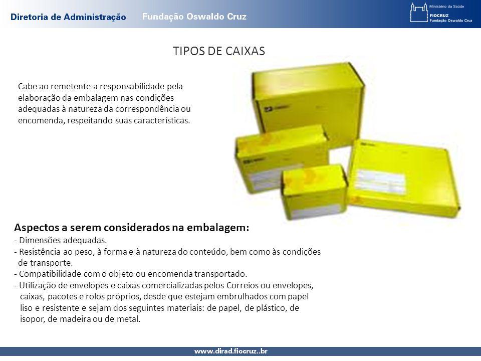 TIPOS DE CAIXAS Cabe ao remetente a responsabilidade pela elaboração da embalagem nas condições adequadas à natureza da correspondência ou encomenda, respeitando suas características.