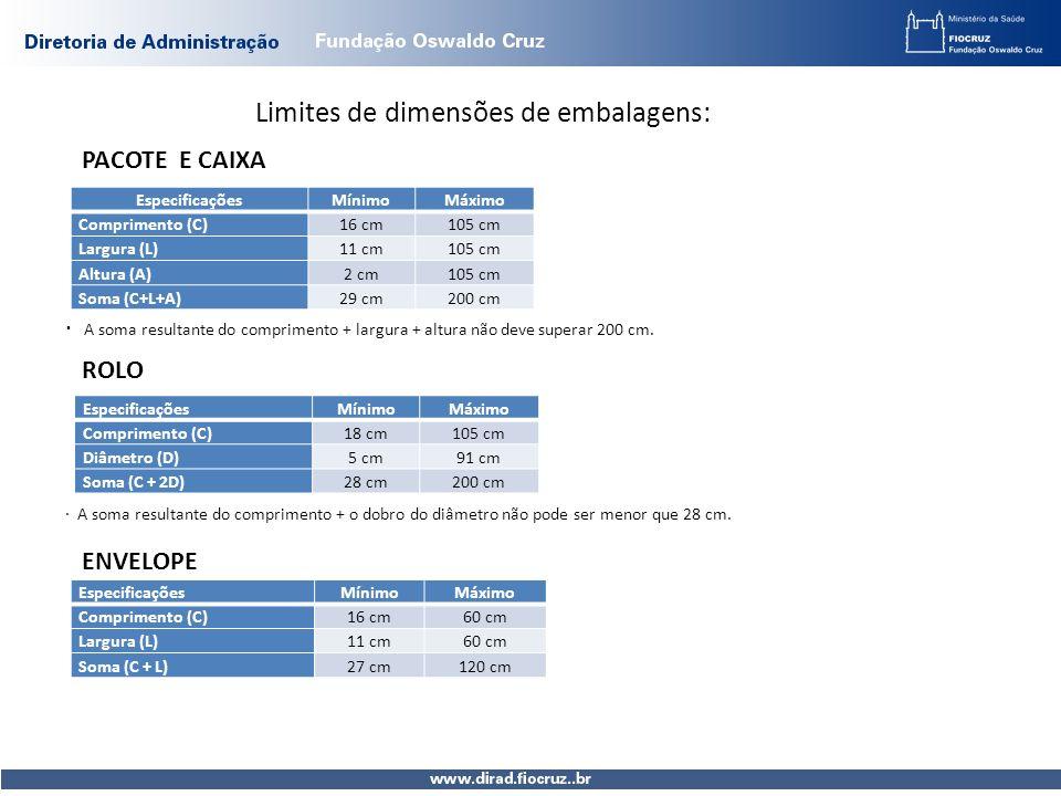Limites de dimensões de embalagens: PACOTE E CAIXA EspecificaçõesMínimoMáximo Comprimento (C) 16 cm105 cm Largura (L) 11 cm105 cm Altura (A) 2 cm105 c
