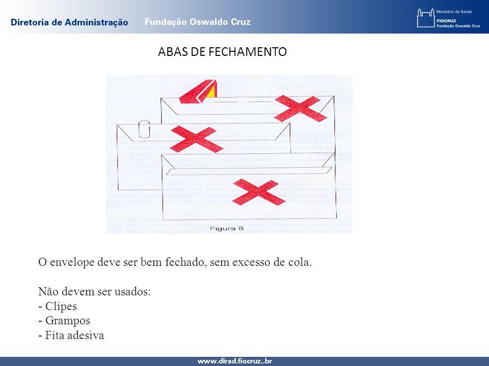 ABAS DE FECHAMENTO O envelope deve ser bem fechado, sem excesso de cola.