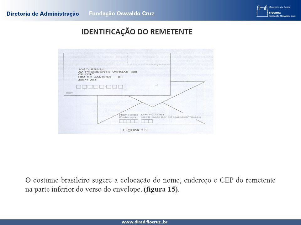 IDENTIFICAÇÃO DO REMETENTE O costume brasileiro sugere a colocação do nome, endereço e CEP do remetente na parte inferior do verso do envelope.