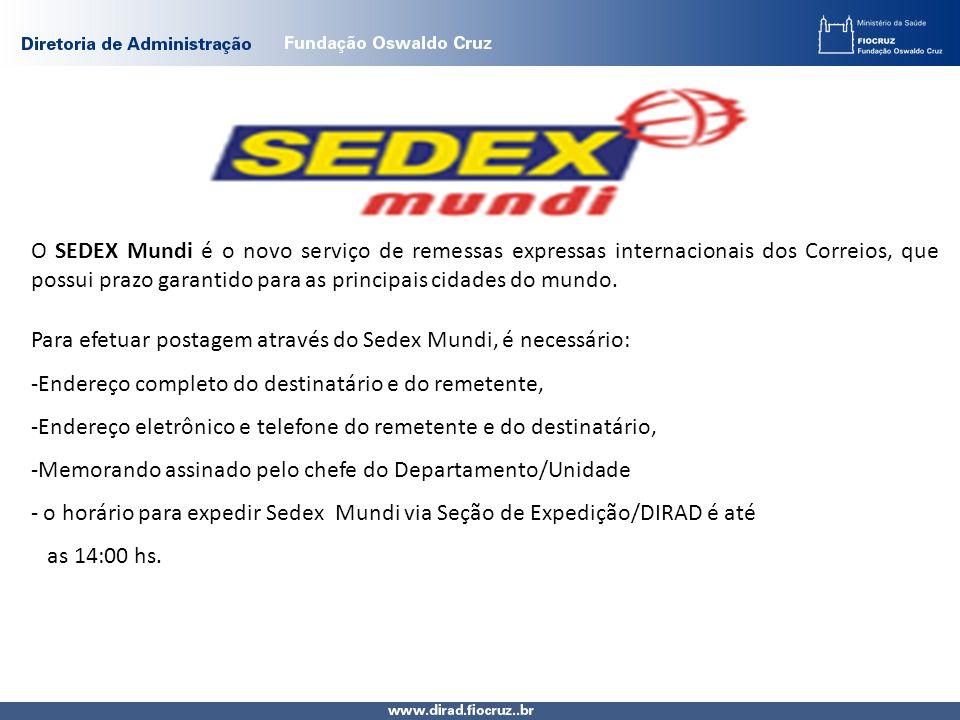 O SEDEX Mundi é o novo serviço de remessas expressas internacionais dos Correios, que possui prazo garantido para as principais cidades do mundo. Para