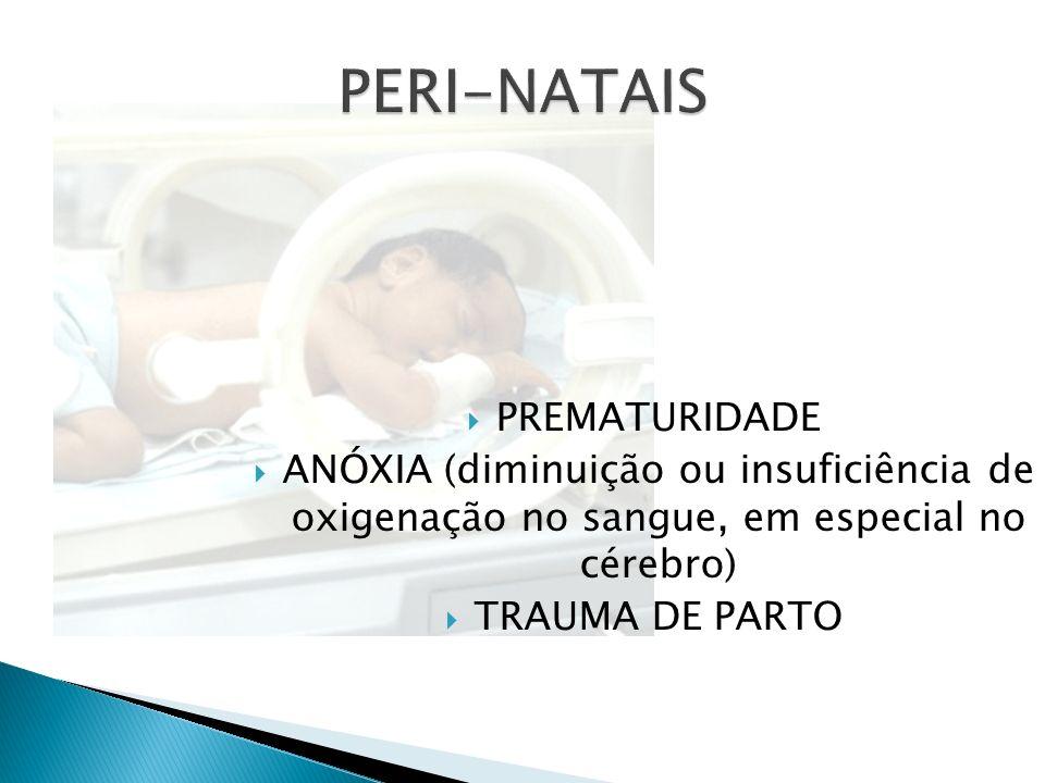 PREMATURIDADE ANÓXIA (diminuição ou insuficiência de oxigenação no sangue, em especial no cérebro) TRAUMA DE PARTO