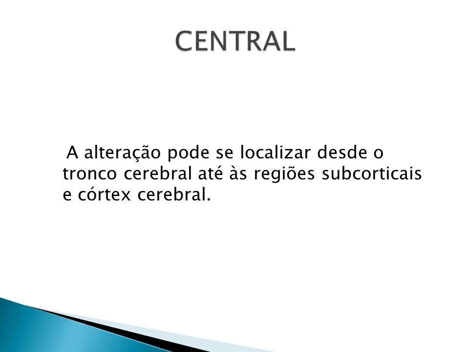 A alteração pode se localizar desde o tronco cerebral até às regiões subcorticais e córtex cerebral.