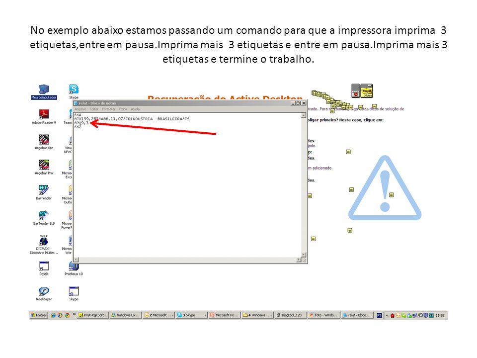 No exemplo abaixo estamos passando um comando para que a impressora imprima 3 etiquetas,entre em pausa.Imprima mais 3 etiquetas e entre em pausa.Impri