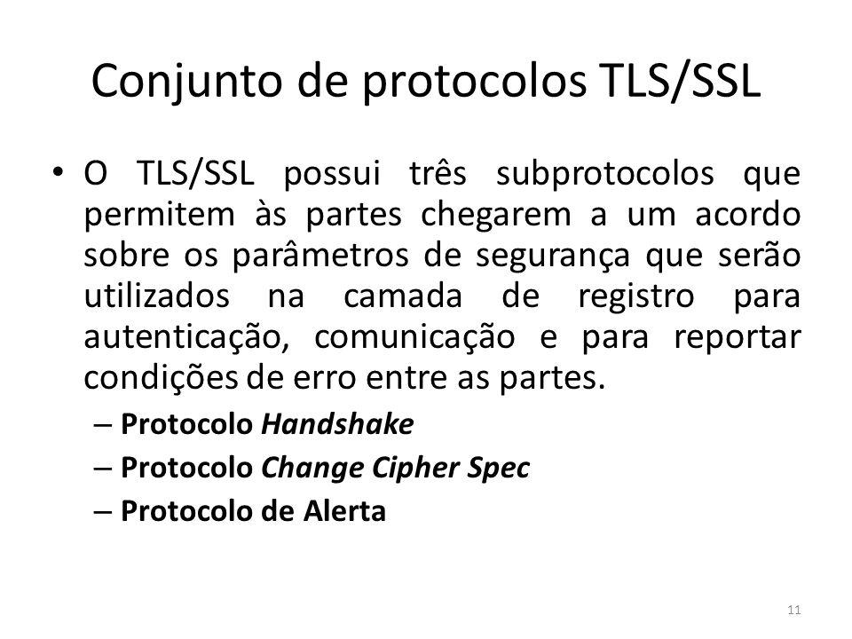 Conjunto de protocolos TLS/SSL O TLS/SSL possui três subprotocolos que permitem às partes chegarem a um acordo sobre os parâmetros de segurança que se