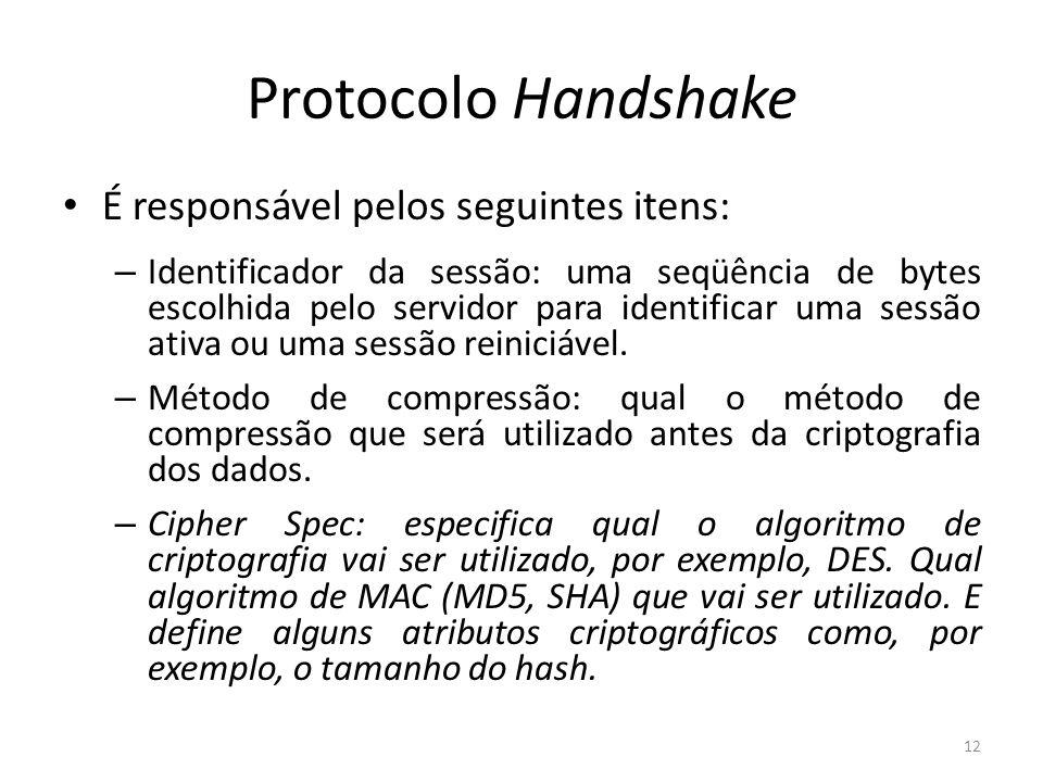 Protocolo Handshake É responsável pelos seguintes itens: – Identificador da sessão: uma seqüência de bytes escolhida pelo servidor para identificar um