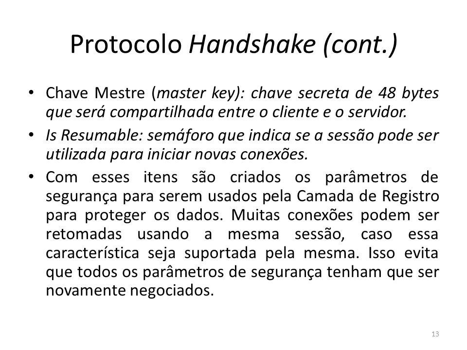 Protocolo Handshake (cont.) Chave Mestre (master key): chave secreta de 48 bytes que será compartilhada entre o cliente e o servidor. Is Resumable: se