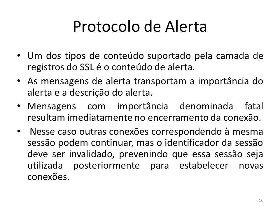 Protocolo de Alerta Um dos tipos de conteúdo suportado pela camada de registros do SSL é o conteúdo de alerta. As mensagens de alerta transportam a im