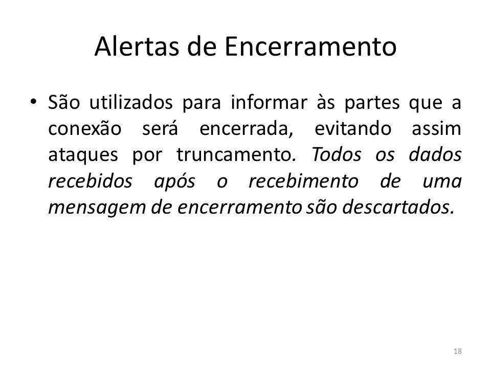 Alertas de Encerramento São utilizados para informar às partes que a conexão será encerrada, evitando assim ataques por truncamento. Todos os dados re