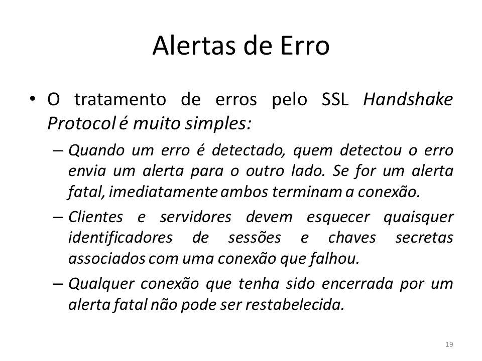 Alertas de Erro O tratamento de erros pelo SSL Handshake Protocol é muito simples: – Quando um erro é detectado, quem detectou o erro envia um alerta