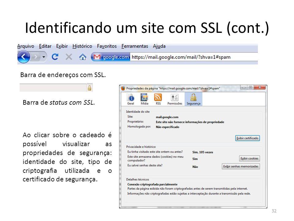 Identificando um site com SSL (cont.) 32 Barra de endereços com SSL. Barra de status com SSL. Ao clicar sobre o cadeado é possível visualizar as propr