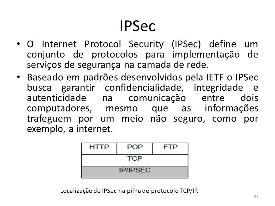 IPSec O Internet Protocol Security (IPSec) define um conjunto de protocolos para implementação de serviços de segurança na camada de rede. Baseado em