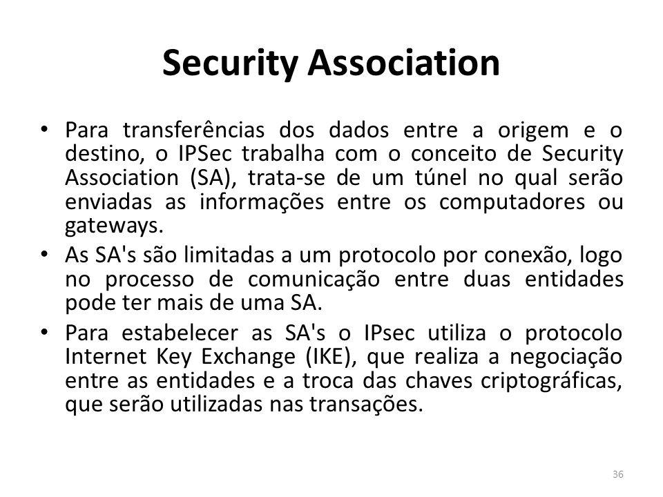 Security Association Para transferências dos dados entre a origem e o destino, o IPSec trabalha com o conceito de Security Association (SA), trata-se