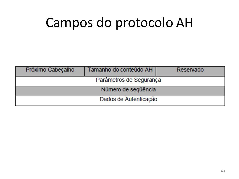 Campos do protocolo AH 40