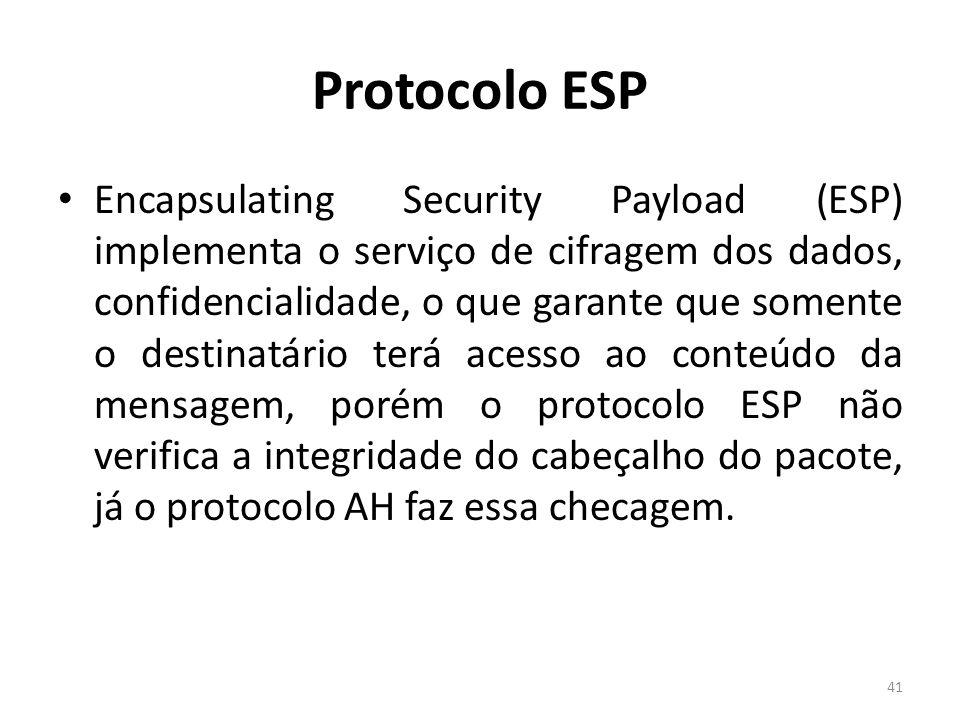 Protocolo ESP Encapsulating Security Payload (ESP) implementa o serviço de cifragem dos dados, confidencialidade, o que garante que somente o destinat