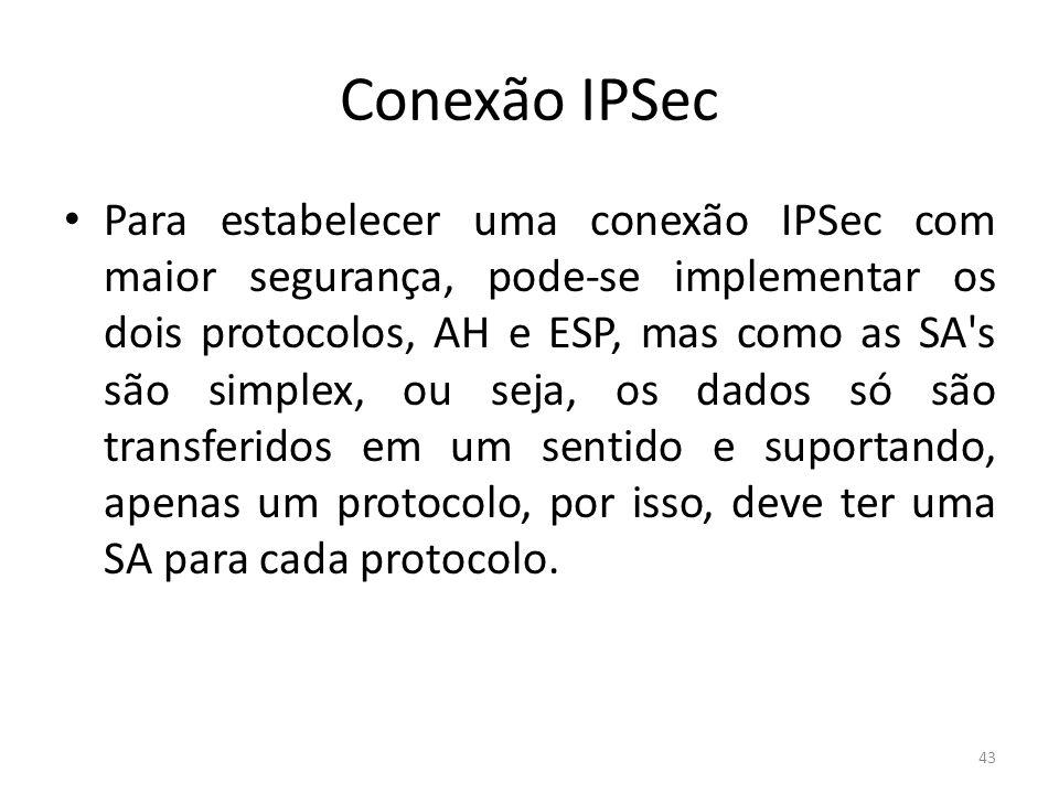 Conexão IPSec Para estabelecer uma conexão IPSec com maior segurança, pode-se implementar os dois protocolos, AH e ESP, mas como as SA's são simplex,