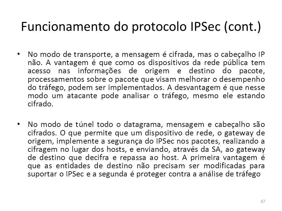 Funcionamento do protocolo IPSec (cont.) No modo de transporte, a mensagem é cifrada, mas o cabeçalho IP não. A vantagem é que como os dispositivos da