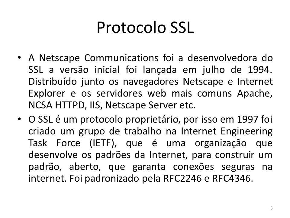 Protocolo SSL A Netscape Communications foi a desenvolvedora do SSL a versão inicial foi lançada em julho de 1994. Distribuído junto os navegadores Ne