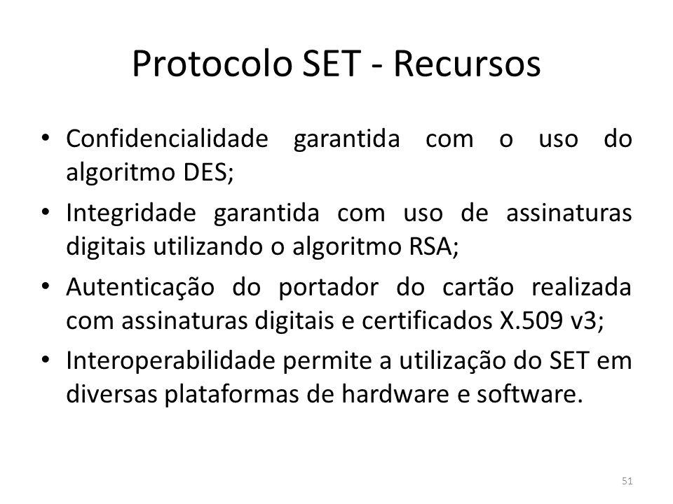 Protocolo SET - Recursos Confidencialidade garantida com o uso do algoritmo DES; Integridade garantida com uso de assinaturas digitais utilizando o al
