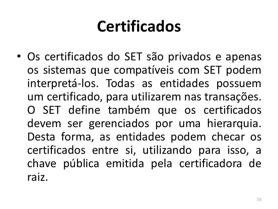 Certificados Os certificados do SET são privados e apenas os sistemas que compatíveis com SET podem interpretá-los. Todas as entidades possuem um cert