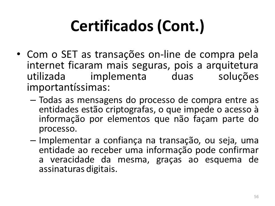 Certificados (Cont.) Com o SET as transações on-line de compra pela internet ficaram mais seguras, pois a arquitetura utilizada implementa duas soluçõ