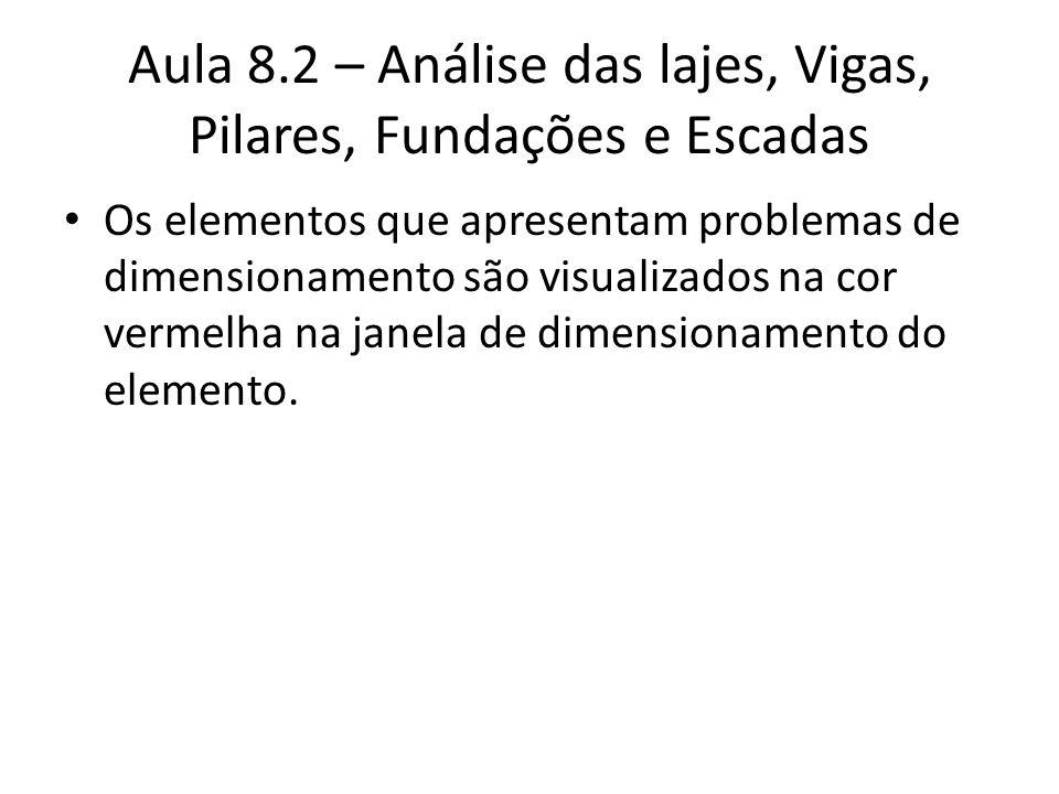 Aula 8.2 – Análise das lajes, Vigas, Pilares, Fundações e Escadas Os elementos que apresentam problemas de dimensionamento são visualizados na cor ver