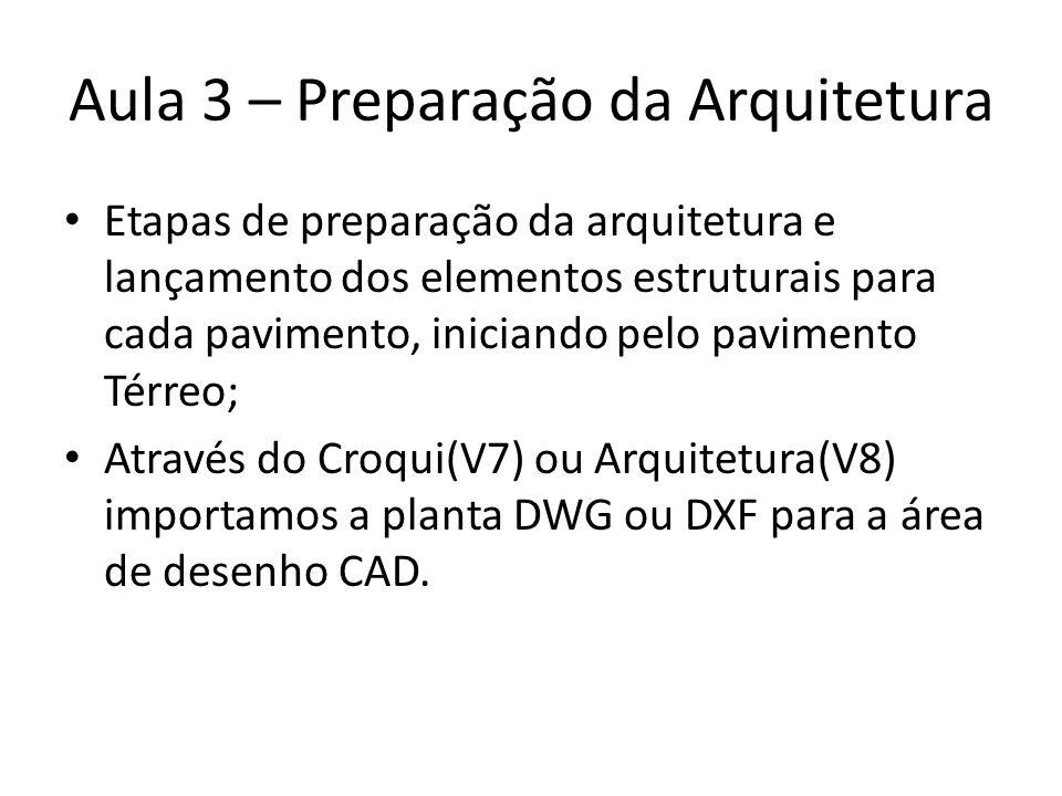 Aula 3 – Preparação da Arquitetura Etapas de preparação da arquitetura e lançamento dos elementos estruturais para cada pavimento, iniciando pelo pavi