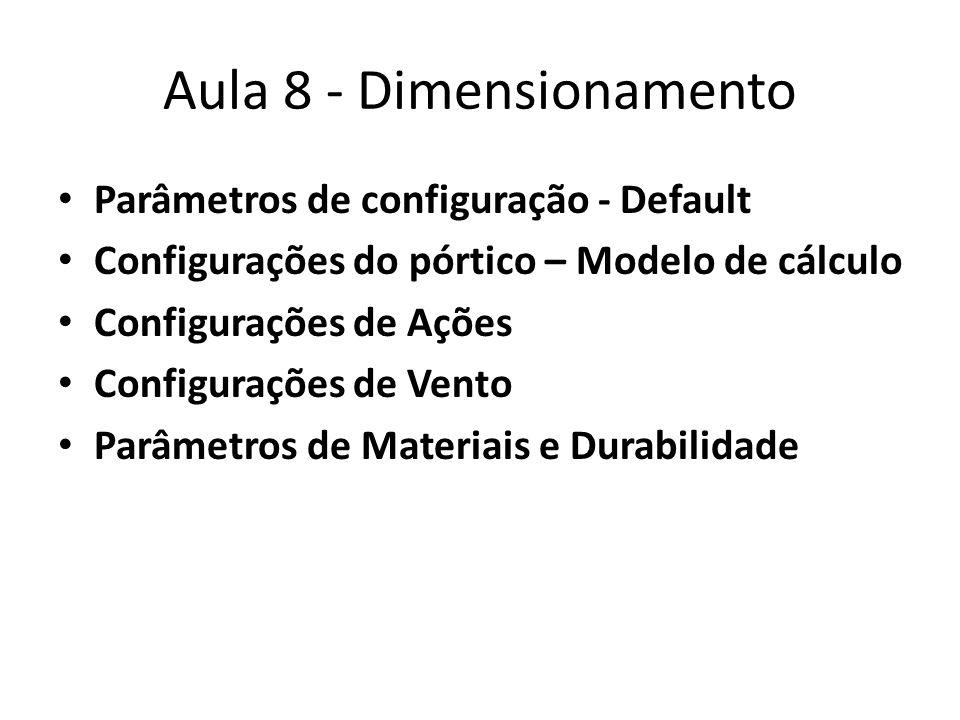 Aula 8 - Dimensionamento Parâmetros de configuração - Default Configurações do pórtico – Modelo de cálculo Configurações de Ações Configurações de Ven