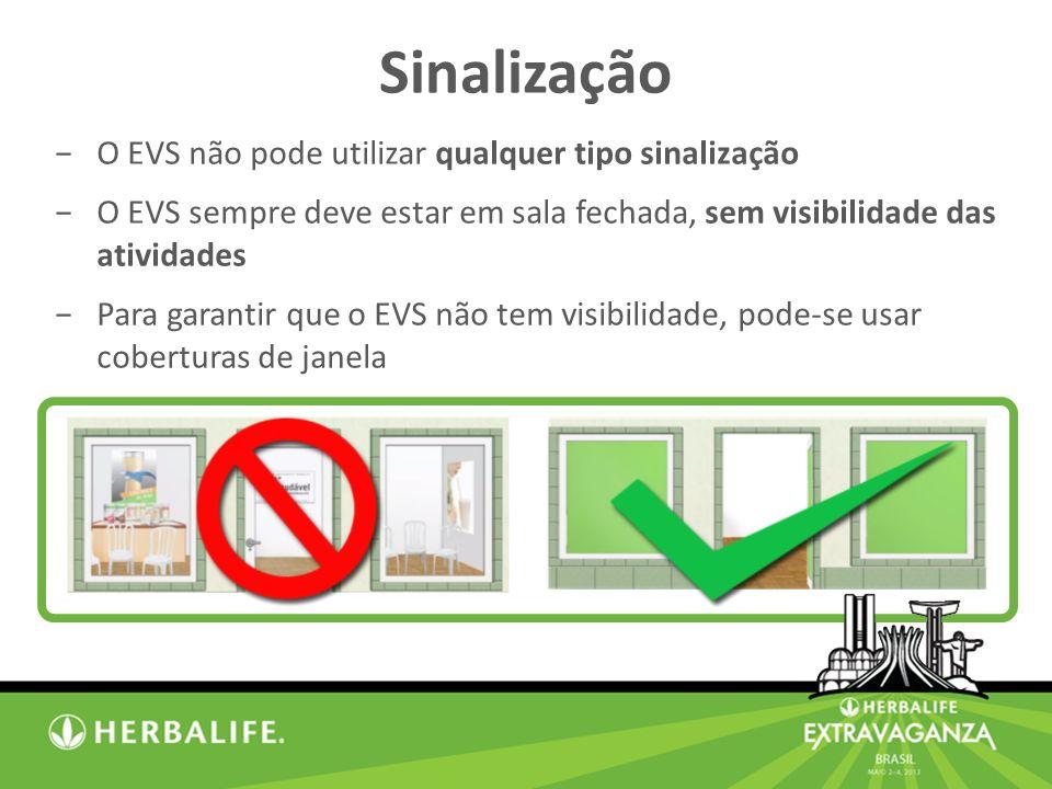 O EVS não pode utilizar qualquer tipo sinalização O EVS sempre deve estar em sala fechada, sem visibilidade das atividades Para garantir que o EVS não tem visibilidade, pode-se usar coberturas de janela Sinalização